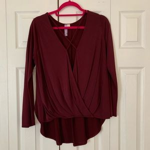 Burgundy criss cross wrap long sleeve shirt, L